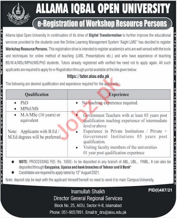 Allama Iqbal Open University AIOU Jobs 2021