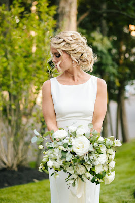 les fleurs : white organic bouquet : long ribbon tails : dahlias : seaside maine wedding