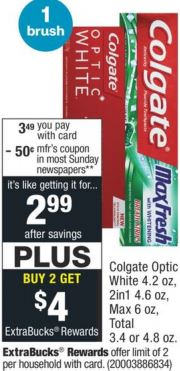 FREE Colgate Optic White Toothpaste at CVS 9/13-9/19