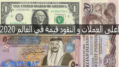 اعلى العملات و النقود قيمة في العالم 2020