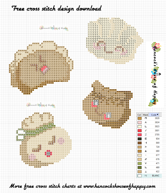 Free Kawaii Cross Stitch Pattern for Chinese New Year. Cute Dimsum Cross Stitch.