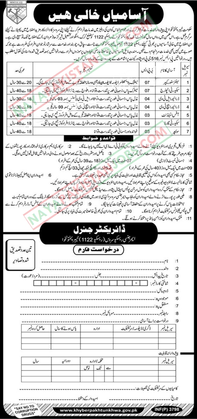 Latest Vacancies Announced in Rescue 1122 Khyber Pakhtunkhwa 30 September 2018 - Naya Pak Jobs
