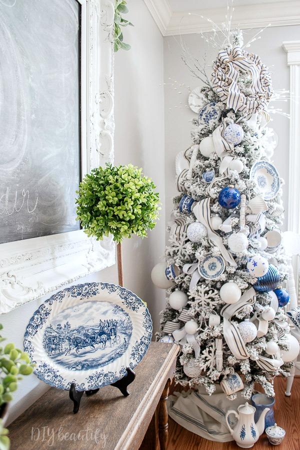 blue and white transferware tree