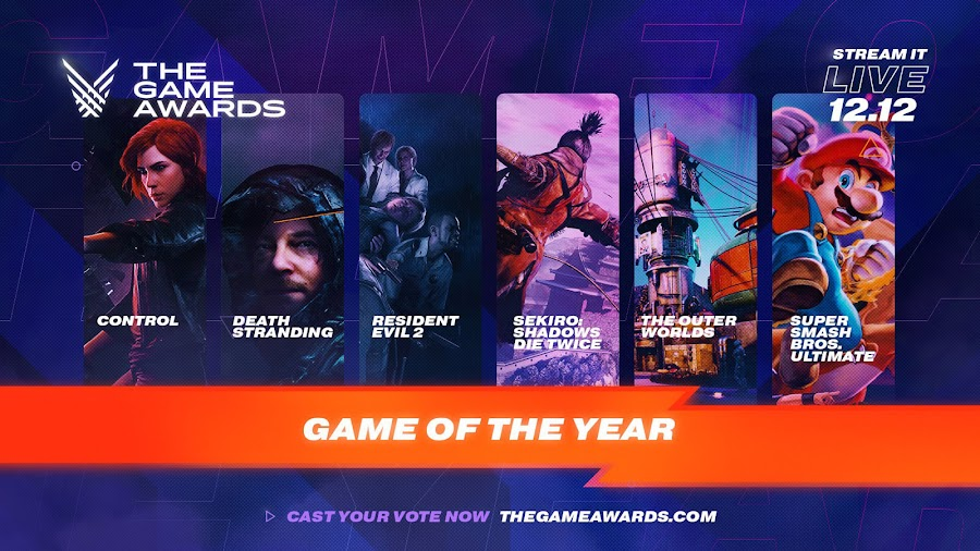 the game awards 2019 nominees revealed control death stranding resident evil 2 2019 sekiro: shadows die twice super smash bros. ultimate the outer worlds