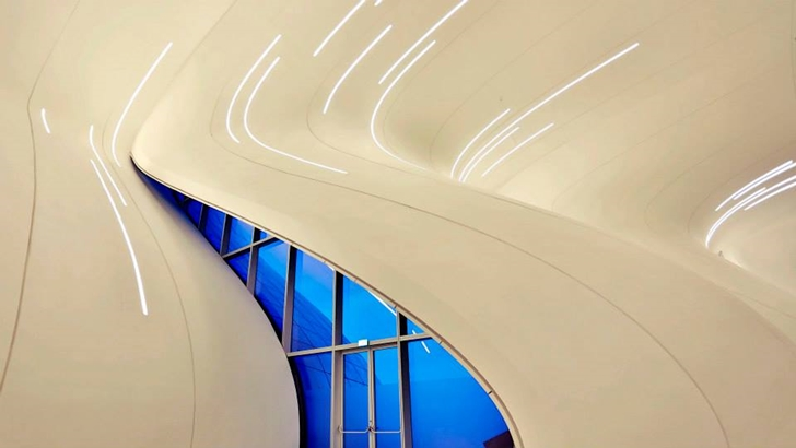 Interior walls of Heydar Aliyev Cultural Center by Zaha Hadid Architects