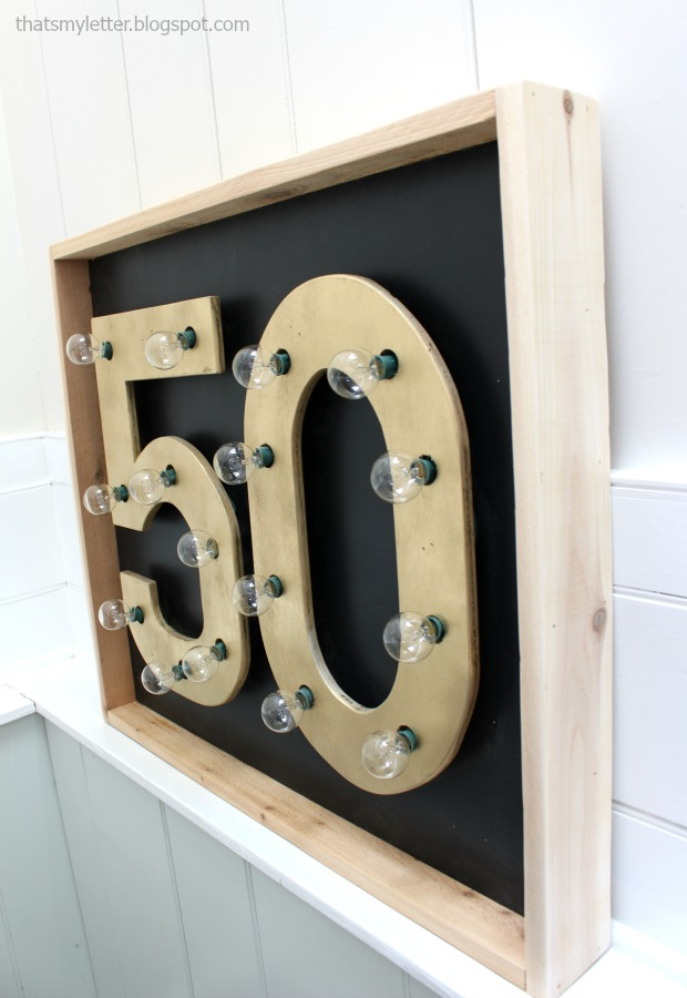 diy number marquee sign