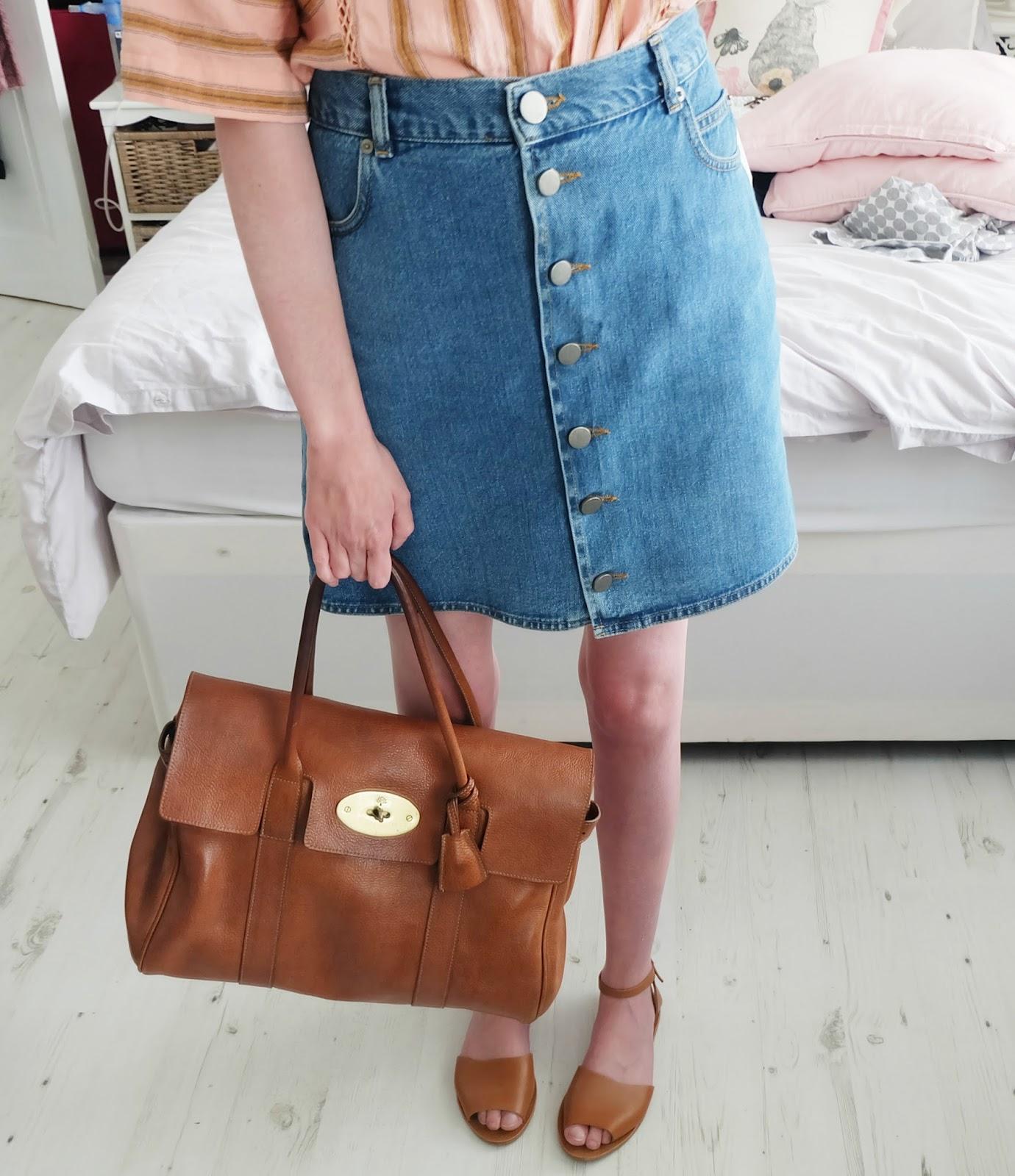 topshop stripe mix n match tee, aos denim dolly button through skirt, mulberry bayswater bag outfit, cystic fibrosis transplant blog uk, uk fashion blog, sick chick chic blog
