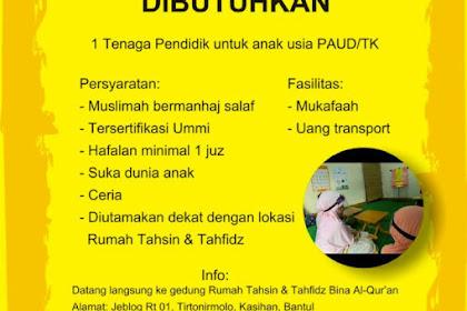 Lowongan Pekerjaan Tenaga Pendidik Untuk TK/PAUD di Bantul, Yogyakarta