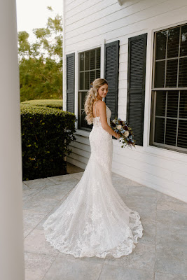 bride will long lace dress
