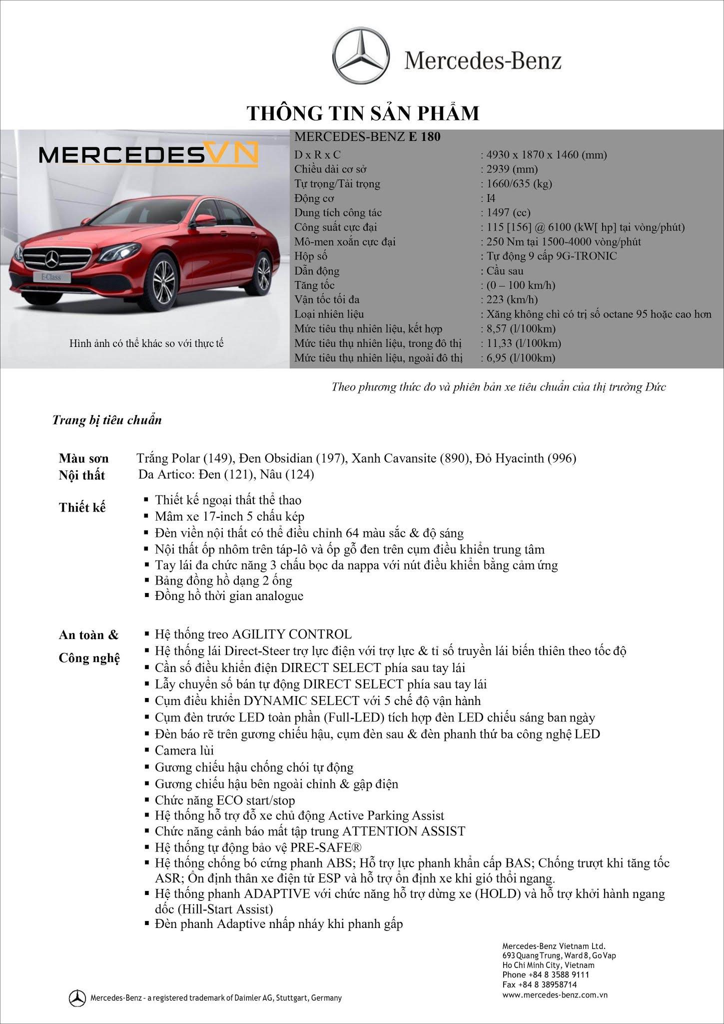 Bảng thông số kỹ thuật Mercedes E180 2021