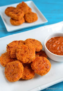 CHEESY COUSCOUS BITES WITH TOMATO DIP