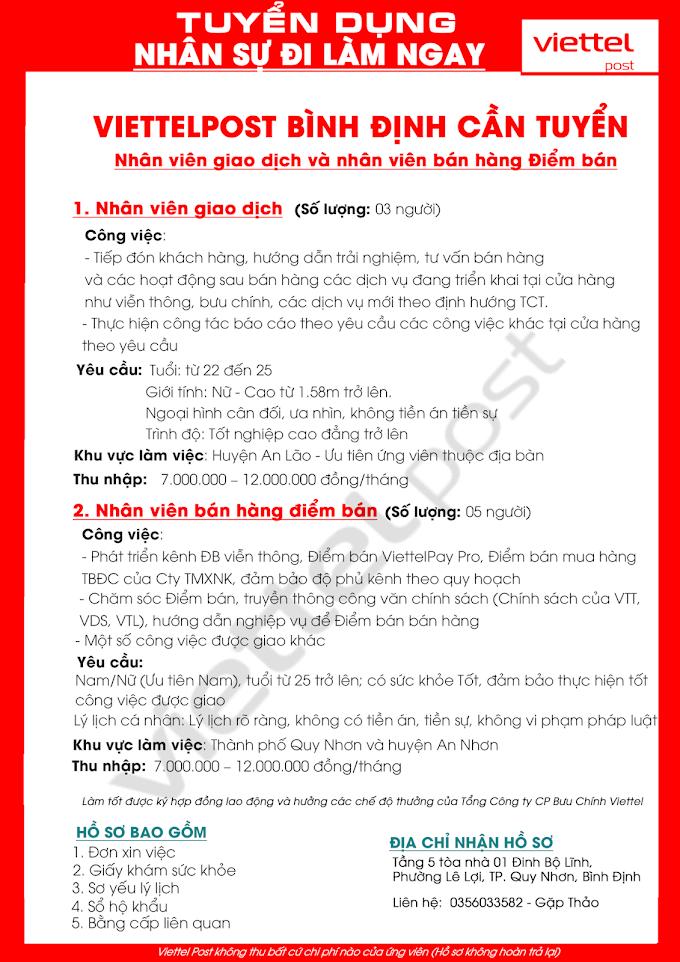 ViettelPost Bình Đình tuyển dụng