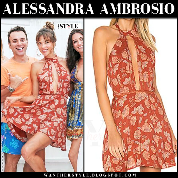 Alessandra Ambrosio in red floral print mini dress ale by alessandra x revolve bia what she wore