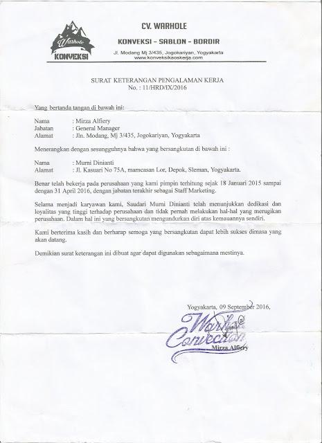 Contoh Surat Pengalaman Kerja dari Perusahaan/Instansi Pemerintahan