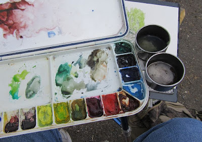 watercolor palette paint medium cup painting