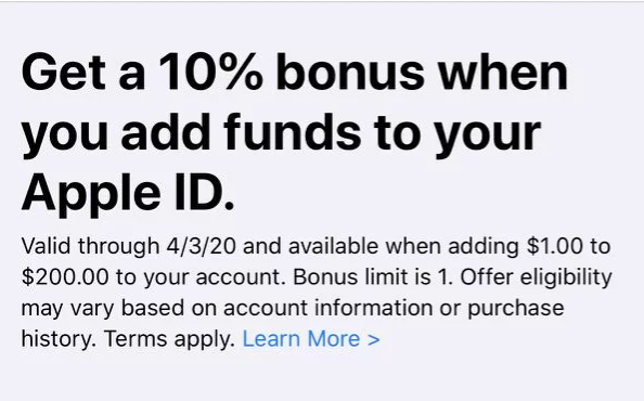 PSA: Apple Again Offering 10% Bonus When Adding Funds To Your Apple ID