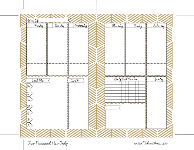 Free double sided week on two pages white and gold theme