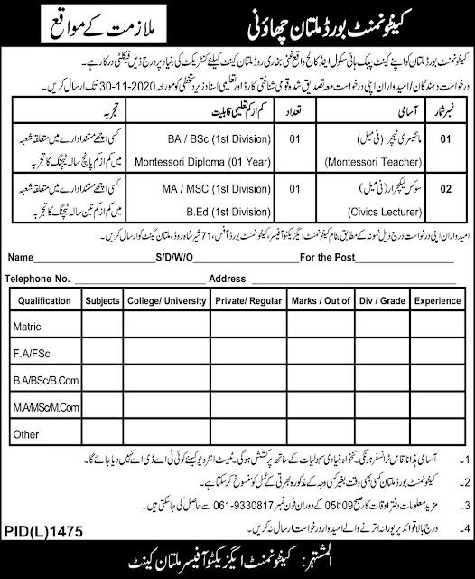 Cantonment Board Multan Cantt Jobs