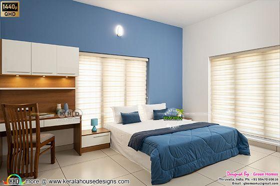 Blue bedroom interior