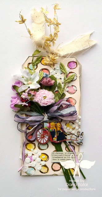 Mixed Media Easter Tag by Dana Tatar for Paper Wings Productions