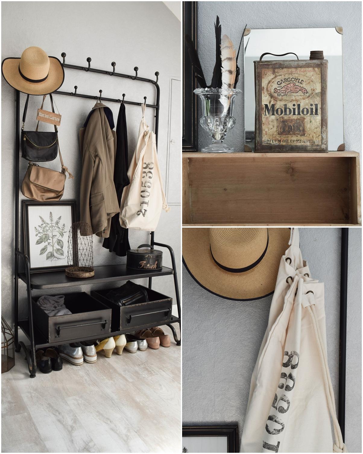 Garderobe Diele Flur Eingangsbereich Deko Dekoidee Interior Einrichtung WENKO Wäschesammler Wäschesack Aufbewahrung Werbung 7
