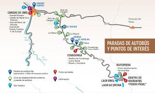 Mapa de acceso a los Lagos de Covadonga.