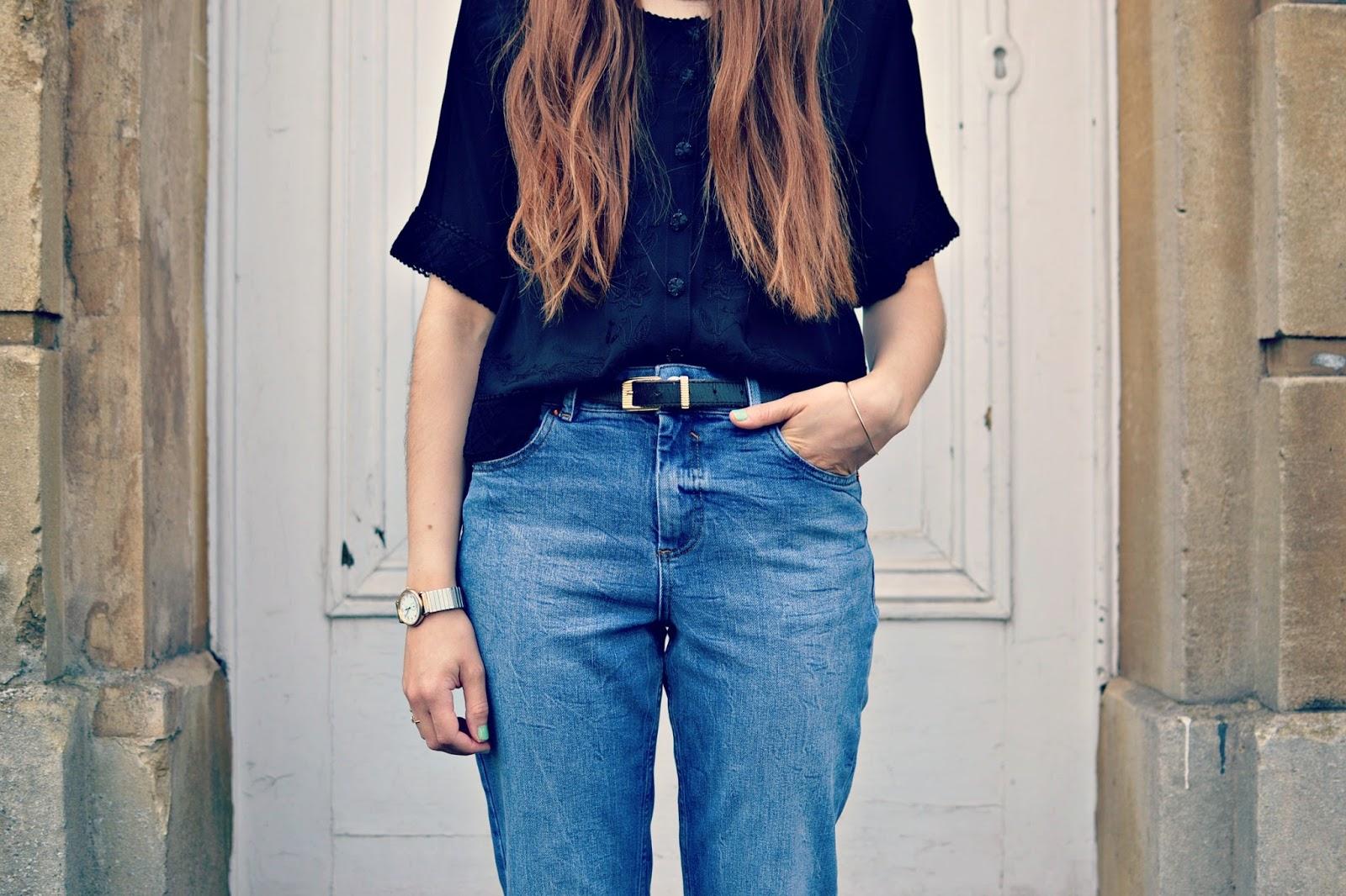 vintage blouse, asos thea jeans, vintage belt