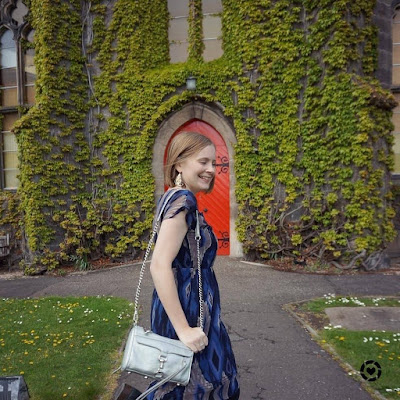 awayfromtheblue Instagram | navy ikat print dress and silver rebecca minkoff mini MAC bag in liberton kirkyard church