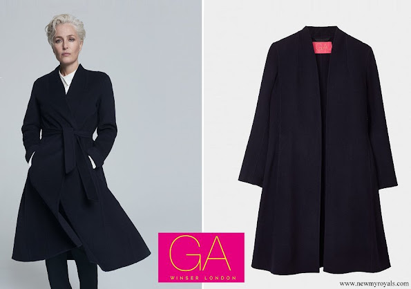 Meghan Markle wore Gillian Anderson navy soft wool swing coat