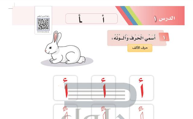 حل درس حرف أ لغتي للصف الأول ابتدائي