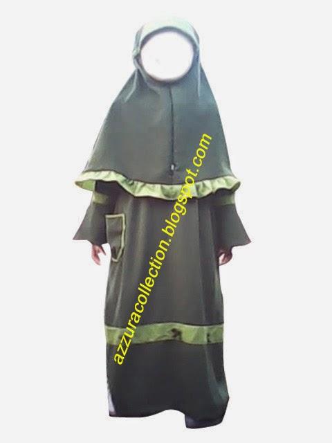 azzuracollection: Stelan gamis anak kombinasi hijau tua