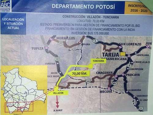 Carretera Villazón - Tarija por Yunchará
