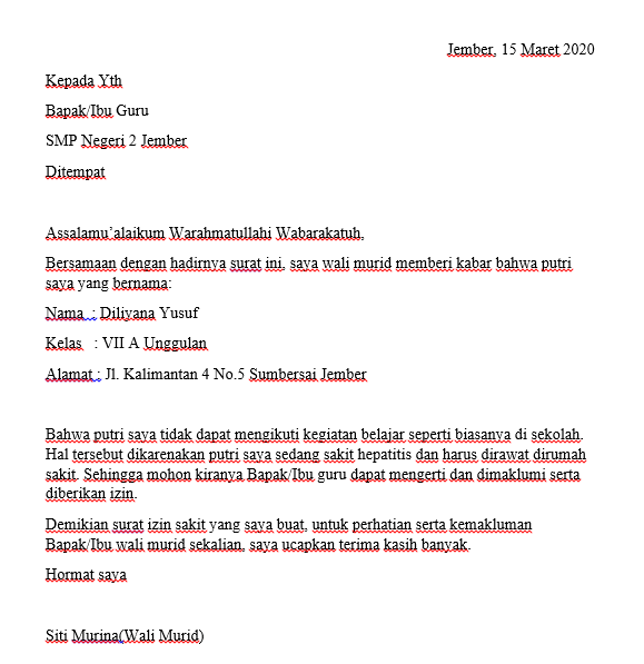 Contoh Surat Izin Sakit Sekolah SMP
