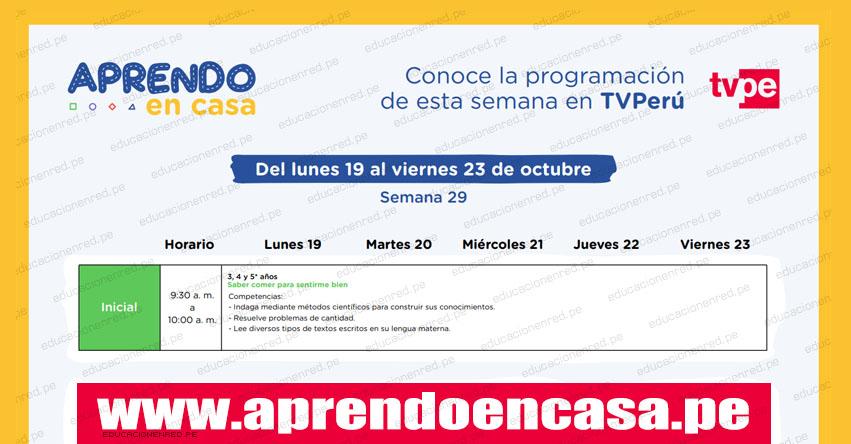 APRENDO EN CASA: Programación del Lunes 19 al Viernes 23 de Octubre - MINEDU - TV Perú y Radio (ACTUALIZADO SEMANA 29) www.aprendoencasa.pe