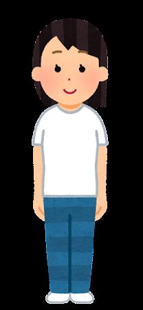 Tシャツを着た人のイラスト(女性)