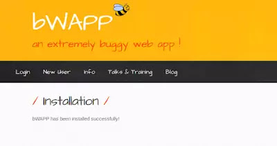 bWAPP sucessfully installed