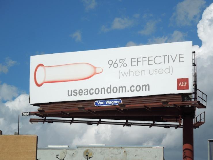 96% effective when used condom billboard