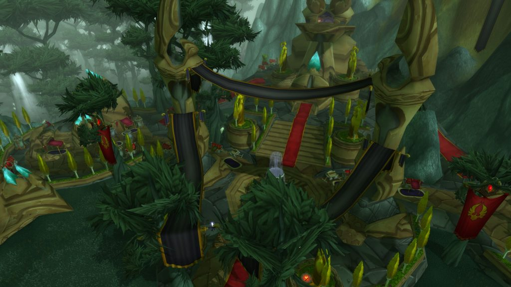 The blood elves are at home on the visionary staircase.