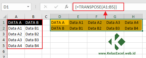 Mengubah Orientasi Data Vertikal Menjadi Horizontal