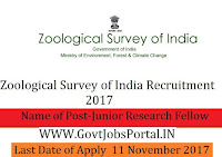Zoological Survey of India Recruitment 2017– 31 Junior Research Fellow