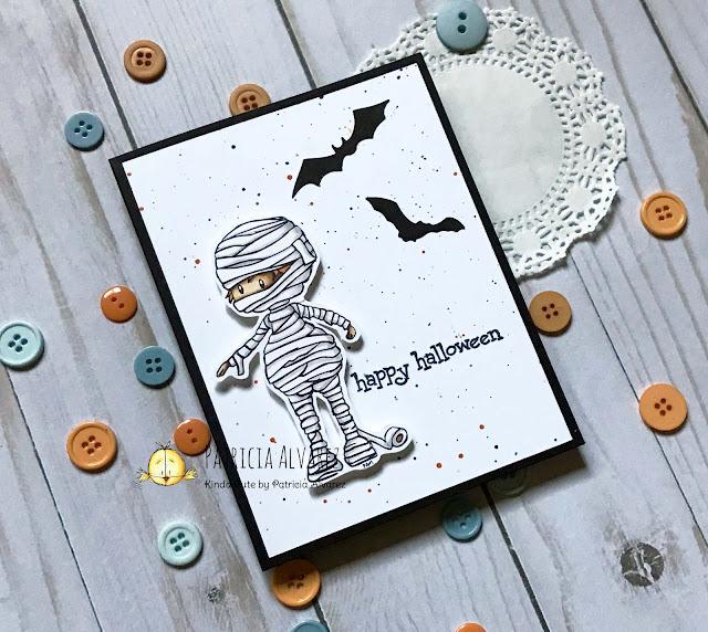 Halloween card with a cute mummy digital stamp