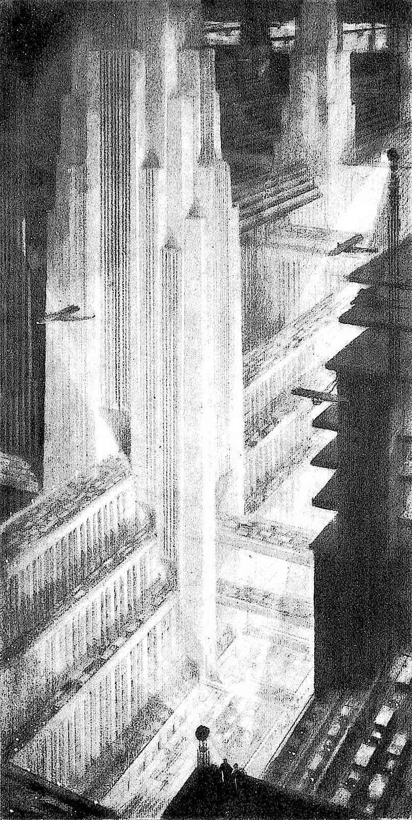 a Hugh Ferriss architectural concept 1929, a future city at night
