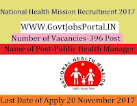 National Health Mission Recruitment 2017– 396 Para Medical Worker, Public Health Manager
