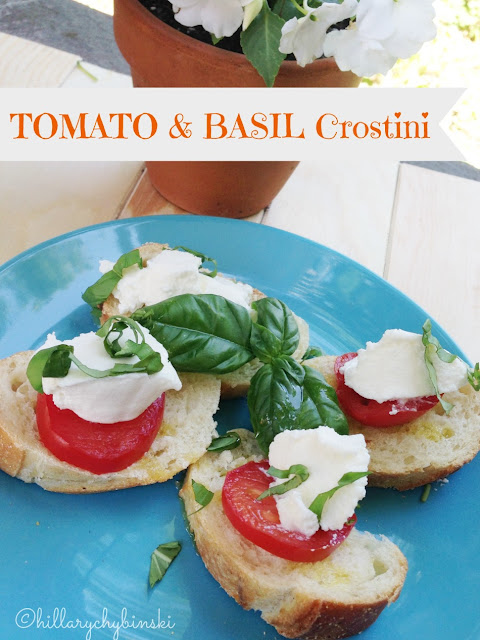 Make some crostini with your tomatoes and basil! It's a delcious and easy snack or appetizer.