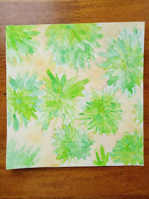 Fresh green succulent watercolor painting