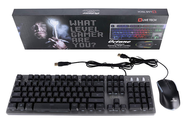 Live Tech Octane Gaming RGB Keyboard Mouse Combo