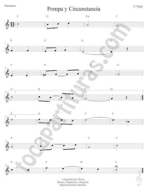 Pompa y Circunstancia Maestoso de Edward Elgar Partitura Fácil con Acordes Pompa y Circunstancia Sheet Music with Chords