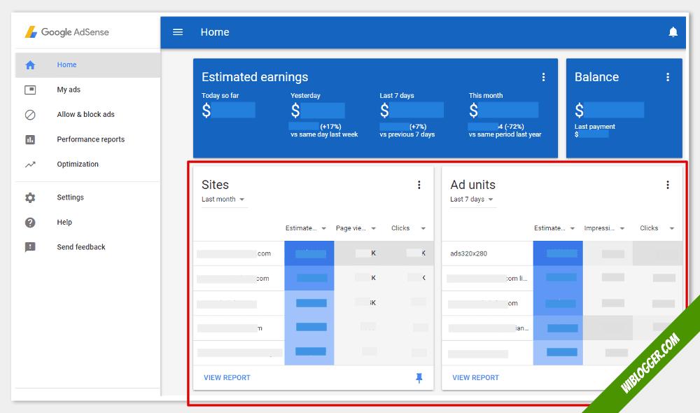 fungsi menu-menu adsense - laporan