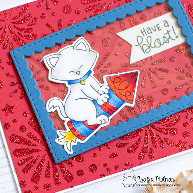 Have a Blast Card by Zsofia Molnar   Newton's 4th of July Stamp Set, Fireworks Stencil and Frame Die Sets by Newton's Nook Designs #newtonsnook #handmade