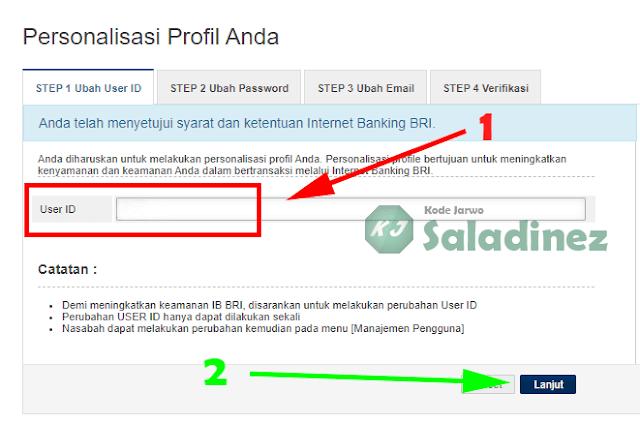 Halaman ubah user ID IB BRI